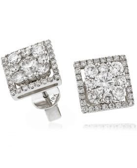 Princess Cut Shape Pave Diamond Earrings Studs