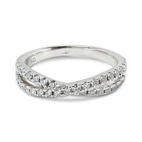 Dubble Cross Diamond Wedding Ring