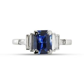 Emerald Cut Blue Sapphire Baguette Diamonds Engagement Ring Top View