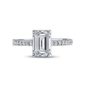 Emerald Cut Shoulder Set Diamond Engagement Ring Top View.jpg