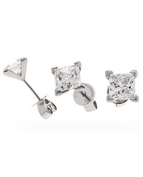 2ct Princess Cut Diamond Earring Studs