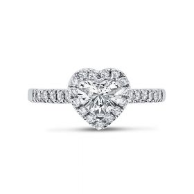 Heart Shape Halo Diamond Engagement Ring Top View