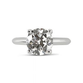 Knife Edge Solitaire Diamond Engagement Ring Top View