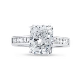 Large Cushion Channel Set Princess Band Diamond Engagement Ring