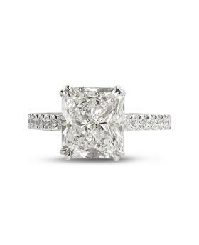 Large Radiant Diamond Engagement Ring Top View