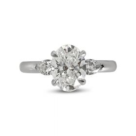 Oval and Pear Side Diamond Engagement Ring top view