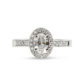 Oval Cut Diamond Halo Pave Setting Engagement Ring Top View
