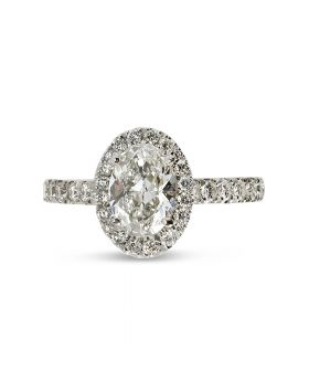 Oval Cut Micro Setting Diamond Halo Engagement Ring Top View