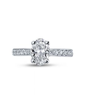 Oval Cut Pave Setting Tapered Engagement Ring Top View