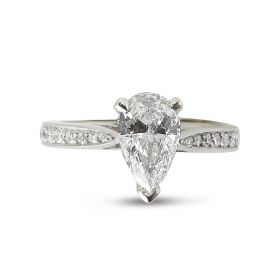 Pear shaped Diamond Engagement Ring Tapered Band Pave Setting Top View