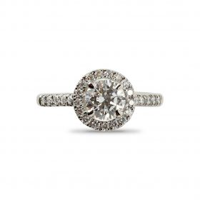 Round Cut Diamond Halo Engagement Ring Top View