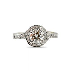 Round Cut Diamond Twist Halo Pave Setting Engagement Ring Top View