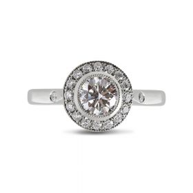 Round Halo Vintage Design Diamond Engagement Ring Tension SettingTop View