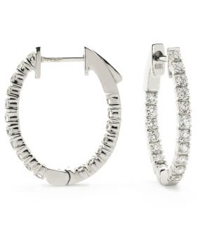 Round Shape Claw Hoops Diamond Earrings