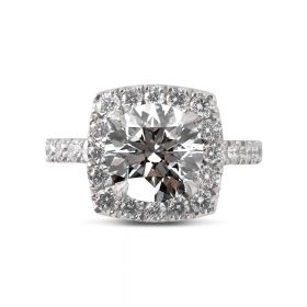 Sharp Corner Halo Diamond Engagement Ring Top View