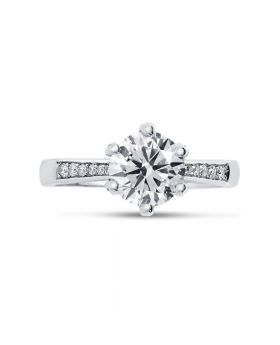 Braided Round Diamond Engagement Ring top view