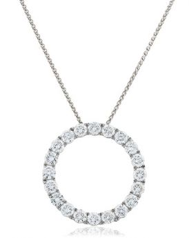 Circle Claw Set Diamond Necklace
