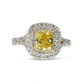 Fancy Yellow Cushion Cut Diamond Double Halo Engagement Ring Top View