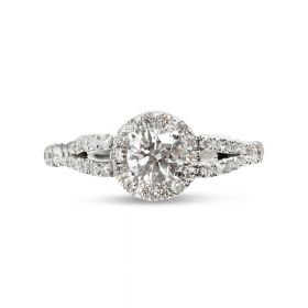 Split Shank Round Cut Diamond Halo Engagement Ring Top View