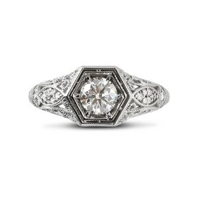 Victorian Diamond Engagment Ring Top View