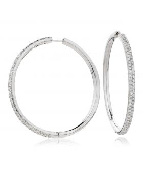Pave Set Diamond Hoops Earrings
