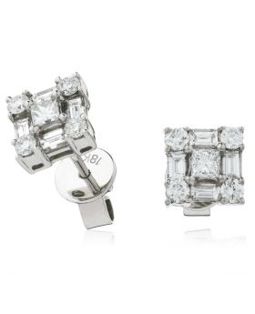 Princess Cut With Round And Baguette Cut Diamond Earrings Studs