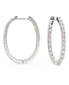 Claw Set In And Out Diamond Hoops Earrings