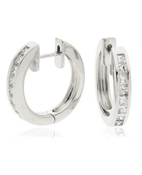 Channel Set Princess Cuts Hoops Diamond Earrings