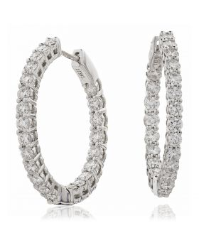 Claw Set Diamond Hoops Earrings
