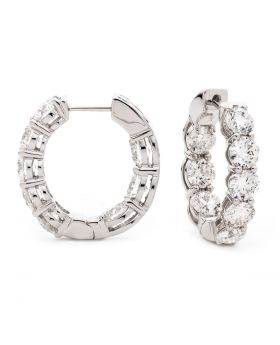 Claw Set Small Size Hoops Diamond Earrings