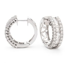 Round and Baguette Cut Hoops Diamond Earrings