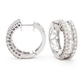 Round and Baguette Cut Hoops Diamond Earrings