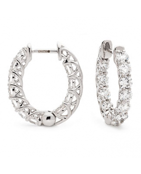 Claw Set Round Shape Hoops Diamond Earrings