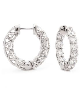 Claw Set Hoops Diamond Earrings