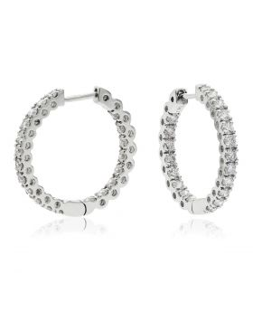 Round Shape Small Claw Set Hoops Diamond Earrings