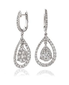 Open Halo Drop Hoops Diamond Earrings