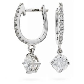Solitaire Drop Hoops Diamond Earrings