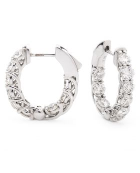 Round Claw Set Hoops Diamond Earrings