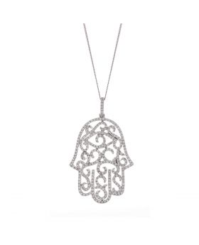 Open Hamsa Diamond Necklace