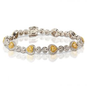 Yellow Diamonds Heart Shaped Diamond Tennis Bracelet