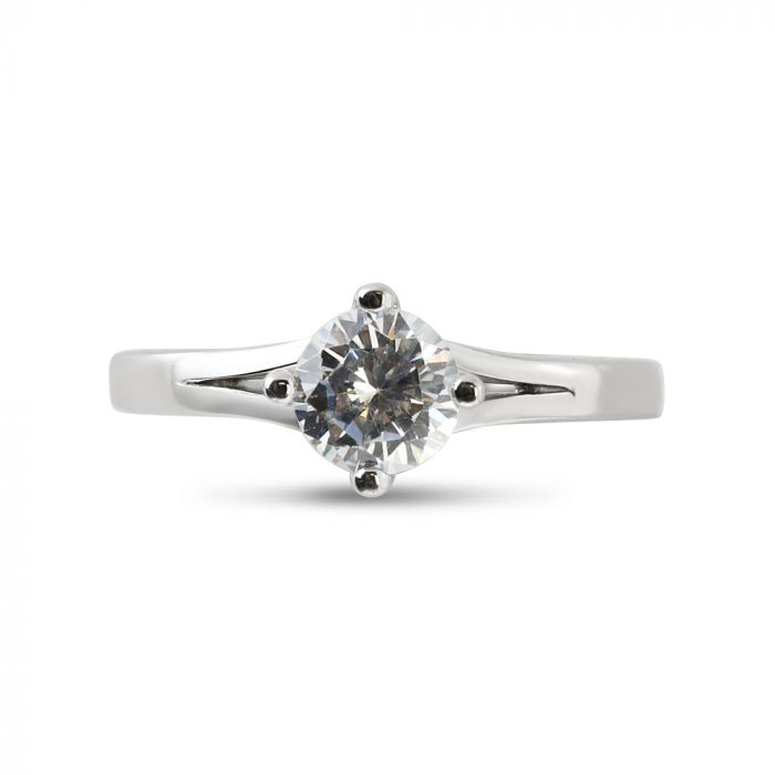 North East West South Round Diamond Engagement Ring