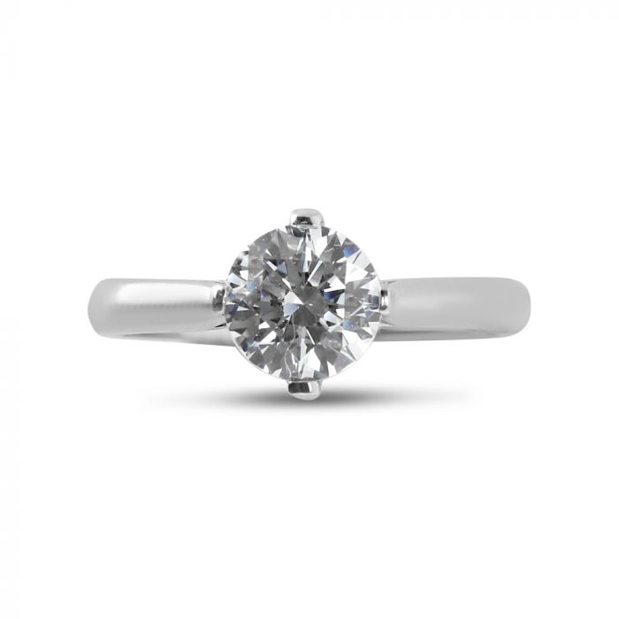 Four Claw Solitaire North East South West Tapered Engagement Ring