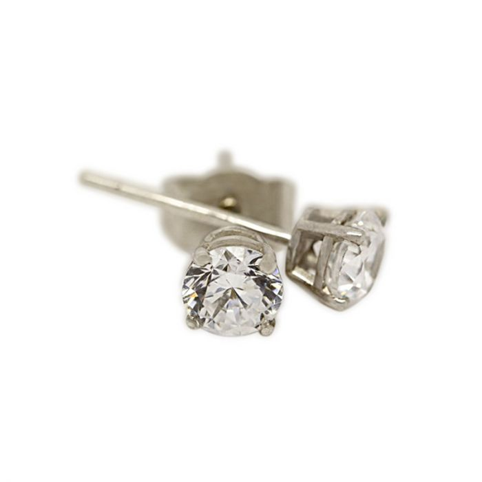 18k White Gold Four Claw 0.20ct Total Diamond Earring Studs