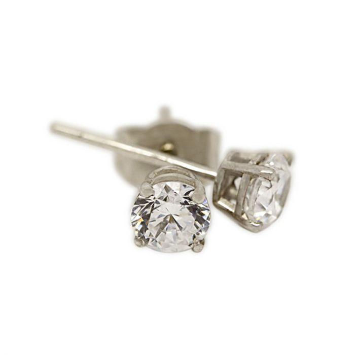 18k White Gold Four Claw 0.30ct Total Diamond Earring Studs