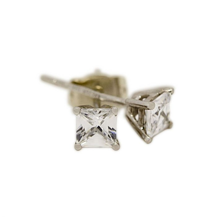 18k White Gold Four Claw 0.30ct Total Princess Cut Diamond Earring Studs