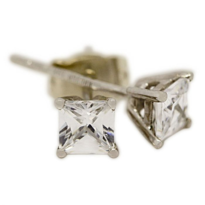 18k White Gold Four Claw 1ct Total Princess Cut Diamond Earring Studs