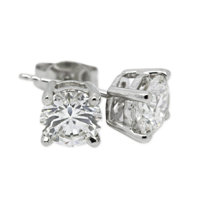 18k White Gold Four Claw 1ct Total Diamond Earring Studs