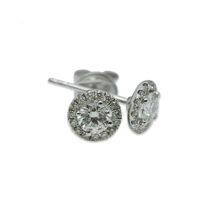 18k White Gold 0.30ct Total Round Halo Setting Diamond Earring Studs