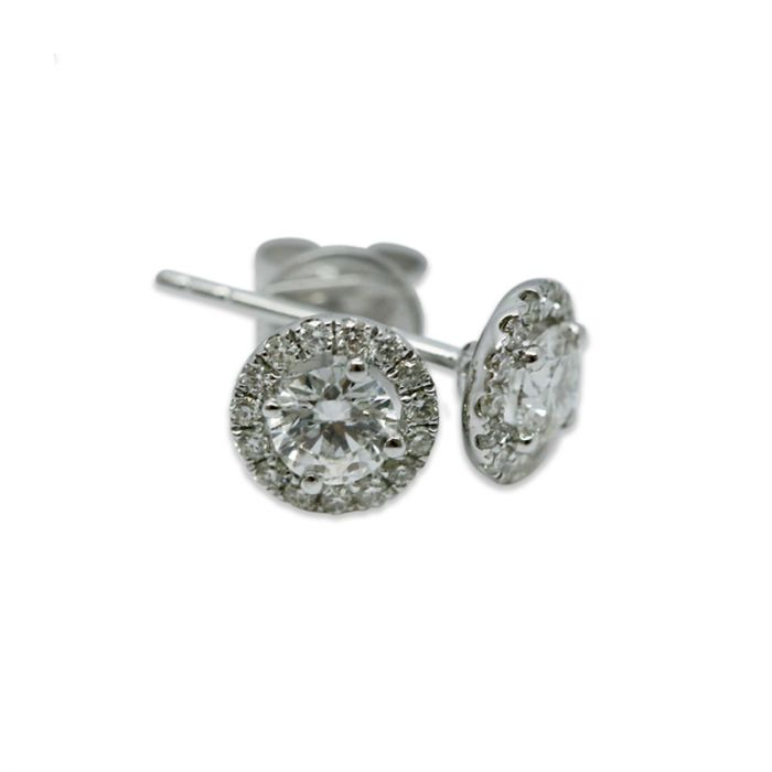 18k White Gold 0.50ct Total Round Halo Setting Diamond Earring Studs