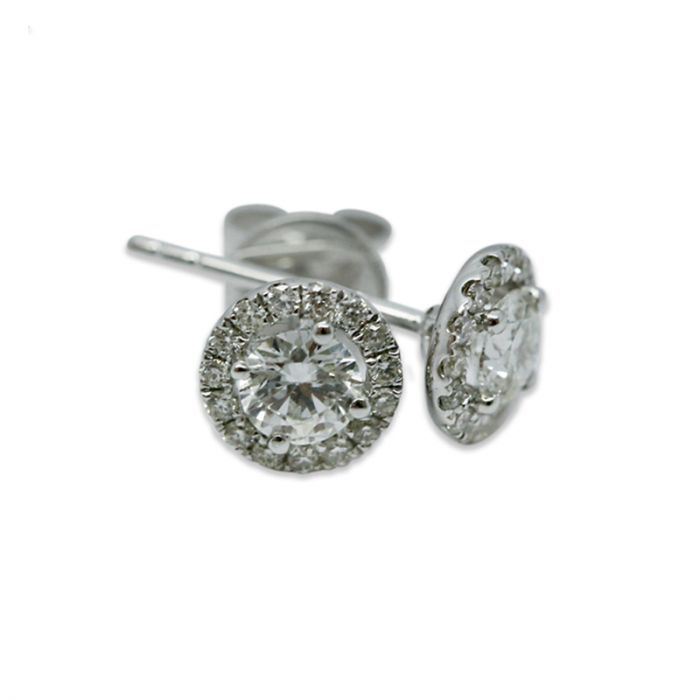 18k White Gold 0.70ct Total Round Halo Setting Diamond Earring Studs